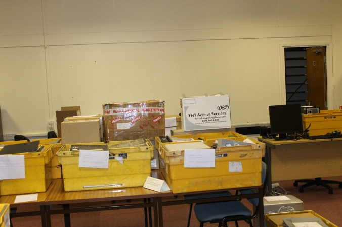 2013 01 02 Crates and boxes packed, labelled and ready to go