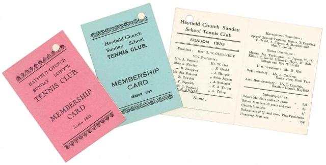 Hayfield Church Sunday School Tennis Club membership cards, 1930s (D2426 A/PI 35/3/2)