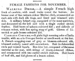 Female Fashions for November, Derby Mercury, 7 November 1811