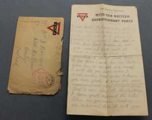 A letter and its envelope before treatment