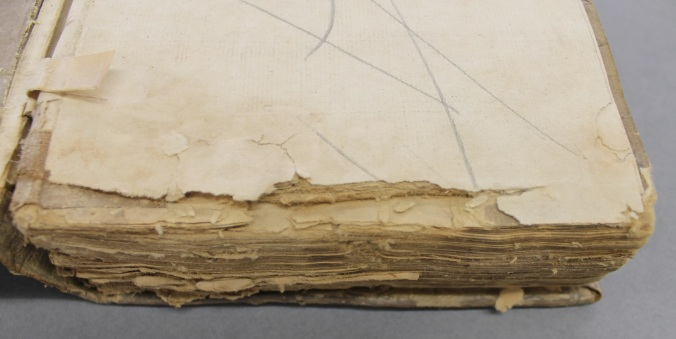 The bottom edges of the volume, affected by damp and mould.