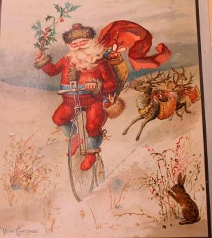Xmas Santa on penny farthing