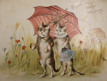 Xmas umbrella cats