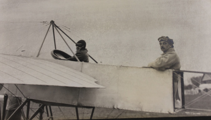 Richard Fynderne Harpur Crewe with pilot T.O.M. Sopwith
