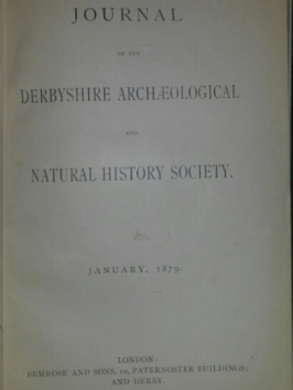 First page of the Derbyshire Archaelogical Journal, Jan 1879