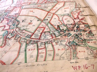 LV 16/7 Land Values map covering Eyam with annotations referring to the Domesday Book