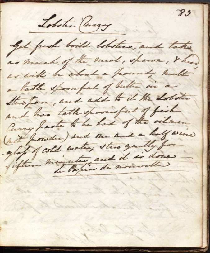 A recipe for Lobster Curry, from Clara Palmer-Morewood's recipe book