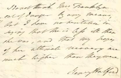 Henry Halford on Eleanor Anne Franklin