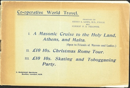 Brochure Co-operative World Travel, organised by Henry S Lunn and Connop F. S. Perowne, 1898 (ref: D5202/13/7)