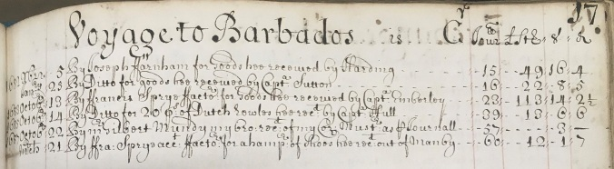 Vogages to Barbados in Edward Mundy's account book