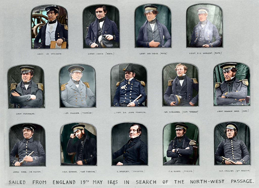 Colourisation, by Ross Day, of the photographic prints of the officers of the 'Erebus' and 'Terror' prior to departure in 1845