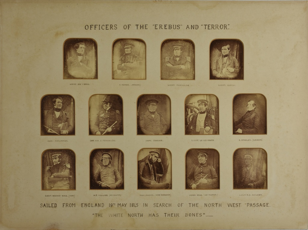 Photographic prints of the officers of the 'Erebus' and 'Terror' prior to departure in 1845. Derbyshire Record Office reference D8760/F/LIB/8/1/5